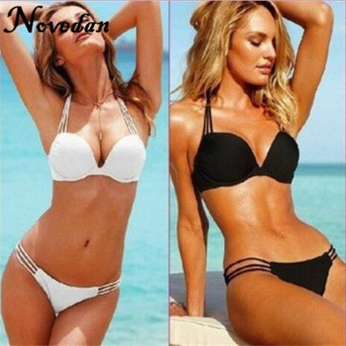 Sexy Bikinis Super Push Up Swimwear Bikini Set Women Swimsuit Solid Strip Black White Bathing Suit
