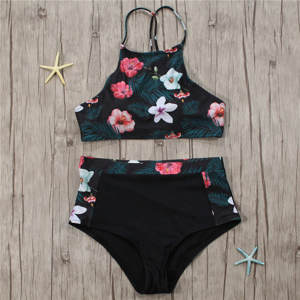 2018 New High Neck Bikinis Women Swimwear High Waist Swimsuit Retro Print Floral Crop Top Halter Bikini Set Bating Suit
