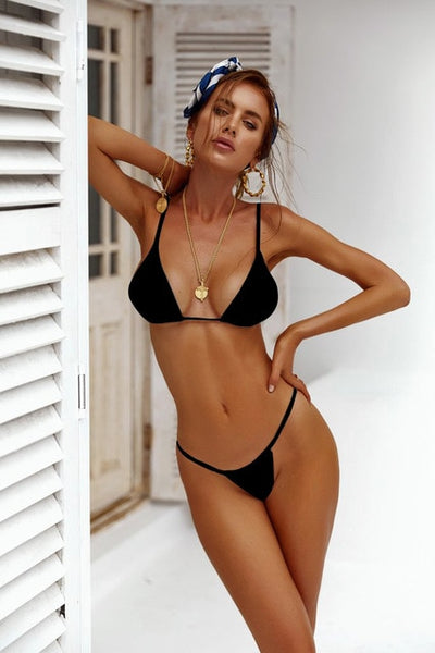 BANDEA Women Swimsuit 2019 Thong Bikinis Set Swimwear Micro Swim Suits Girls Biquinis Female Solid Black White Bathing Suits