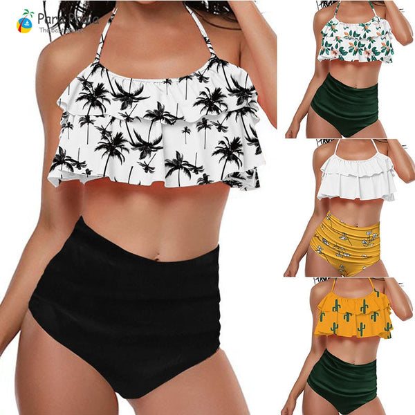2019 Palm Tree Push up Bikini Set Women Helter Ruffle Swimwear Sexy Off Shoulder High Waist Swimsuit Women Beach Bathing Suit