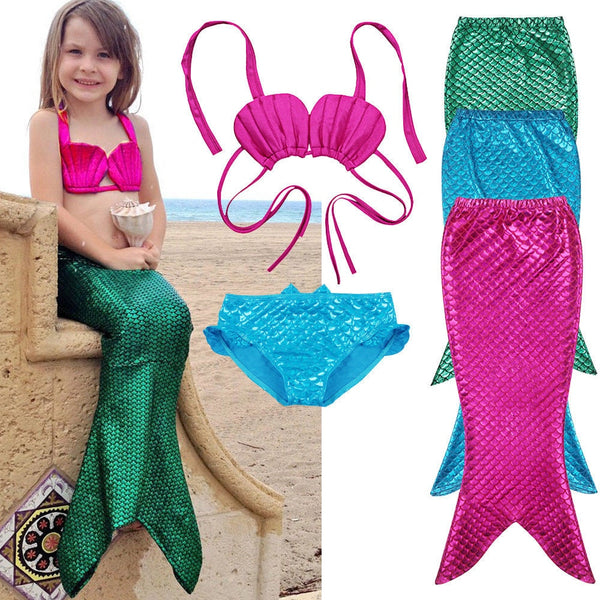 3Pcs New Kids Girls Mermaid Tail Swimmable Bikini Set Swimwear Swim Costume Children Bikinis Set Swim Suit