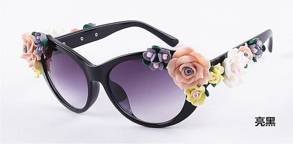 Flower Sunglasses Women Cat Eye Fashion Sun Glasses UV400 Female Summer Beach Roses Eyewear Oculos
