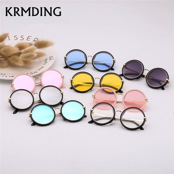 KRMDING 2019 NEW Children's Sunglasses Girls Brand kids Round Sunglasses Boys Girls Beach Outdoor Baby Goggles UV400 Oculos