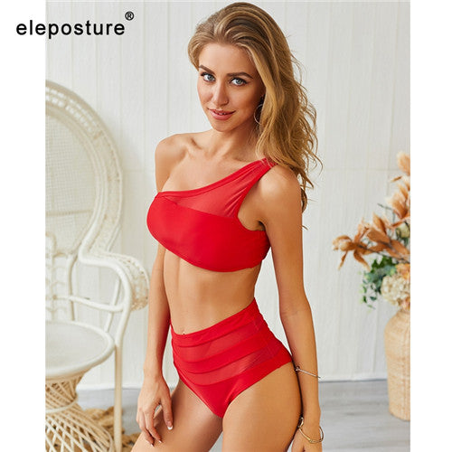2019 New Sexy Lace Bikinis Women Swimsuit High Waist Bikini Swimwear One Shoulder Bikini Set Solid Bathing Suit Summer Beachwear