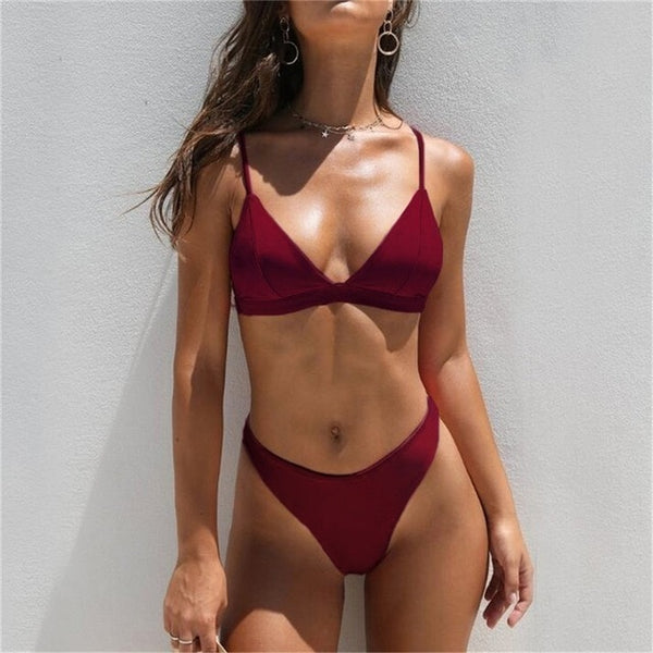 Sexy Triangle Bikini Set New Women Solid Bathing Suit Swimwear Summer Beach Wear Female Low Waist Red Swimsuit Biquini