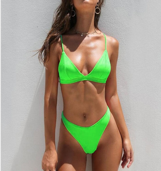 2019 Summer Solid Beach Swimsuit Swimsuits for Women Sexy Halter Swimwear Swimsuit Thong Female Bikini Sets Orange Pink Yellow