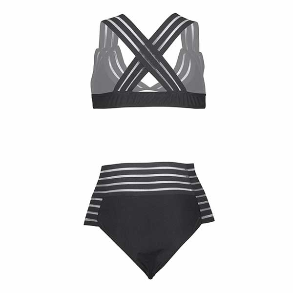 hollow out sexy swimsuit high waisted bikini 2019 solid strip bathing suit women summer swimwear female bandage swimming suit