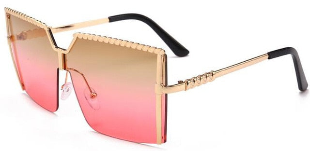 Luxury Brand Vintage Alloy Frame Oversized Square Sunglasses