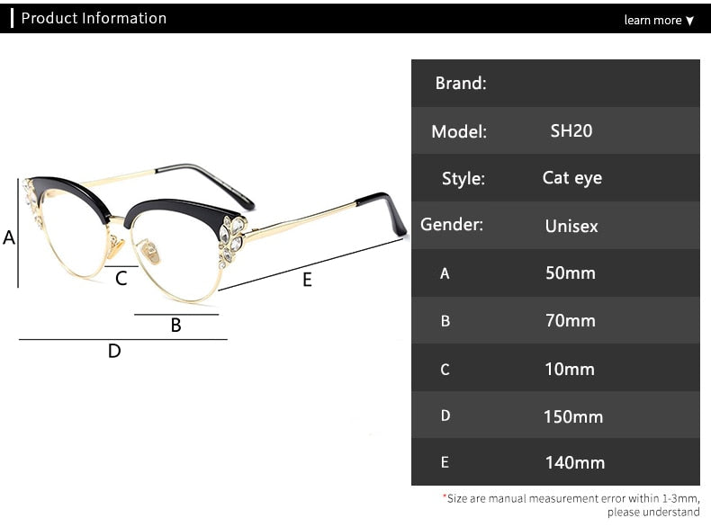 Classic Crystal Decoration Cat Eye Glasses