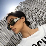 Vintage Rectangle Women Small Frame Mirror Sunglasses