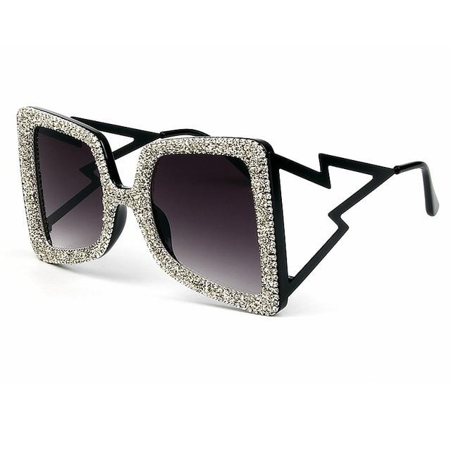 Women Bling Stones Oversize Sunglasses
