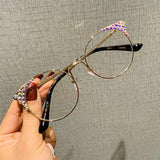 Fashion Diamond Transparent Cat Eye Glasses Clear Frame