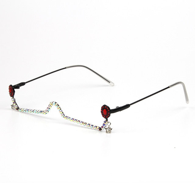 Water Drop Lensless Chain Pendant Decoration Half Frame Glasses