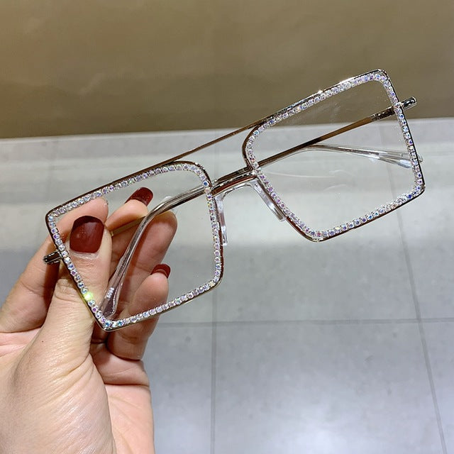 Rhinestones Square Metal Overize Glasses Frame NT0428