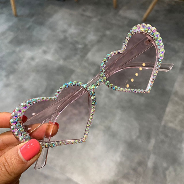 Vintage Women Fashion Luxury Rhinestone Decoration Cat Eye Heart Sunglasses