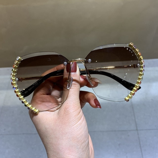 Bling Bling Oversized Rimless Sunglasses