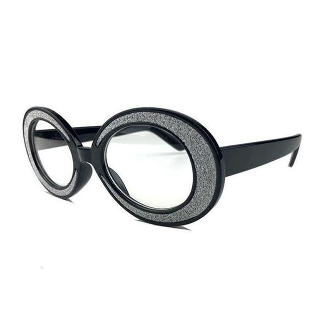 Vintage Shining Small Oval Round Crystal Frame Women Glasses