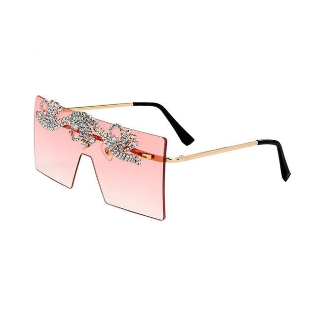 Women Luxury Rhinestone Oversized Sunglasses
