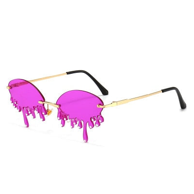 Vintage Rimless Unique Tears Shape Steampunk Sunglasses  UV400