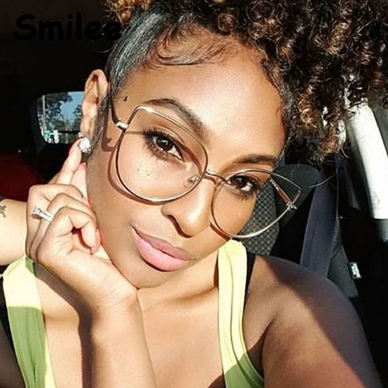 Fashion Oversize Metal Cat Eye Clear Lens Glasses