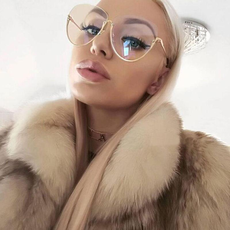 Women Oversized Frame Clear Lens Sunglasses