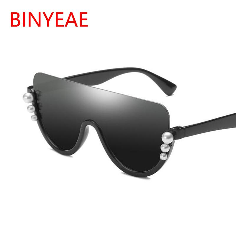 Fashion Mirrored Semi Rimless Shield Pearl Sunglasses