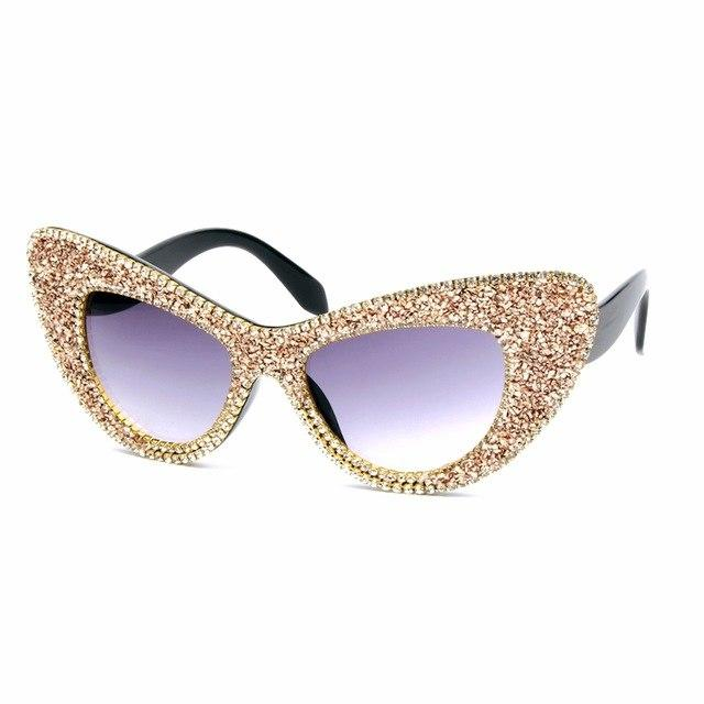 Women Gold Gravel Brand Oversized Cat Eye Sunglasses