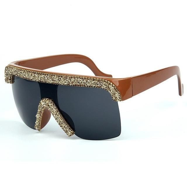 Vintage Cool Style Bling Rhinestones Goggle Shield Sunglasses UV400