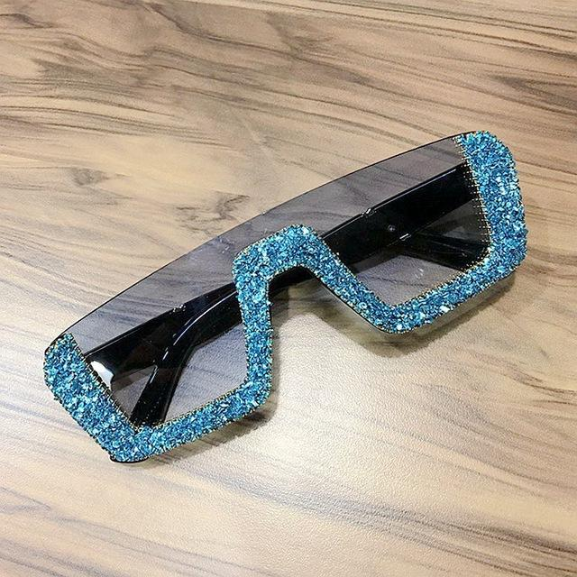 Square Luxury Half Frame Oversized Rhinestone Sunglasses UV400