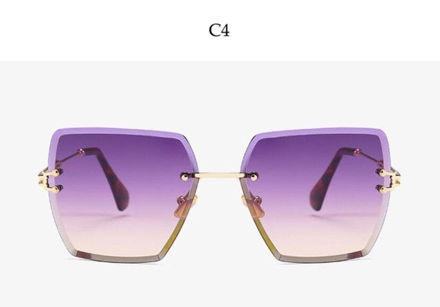Women Luxury Crystal Square Rimless Sunglasses