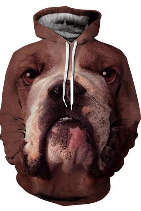 3D Graphic Hoodies  Animals Dogs Bulldog Pitbull Big Nose
