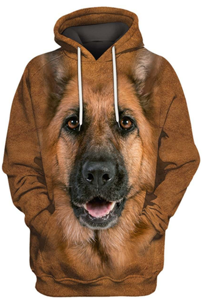 3D Graphic Hoodies  Animals Dogs German Shepherd Dog
