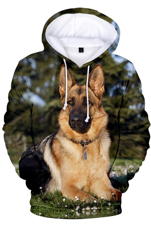 3D Graphic Hoodies  Animals Dogs German Shepherd Dog Quiet