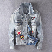 HhhknNew Badge Skull Embroidery Demin Jacket Coat
