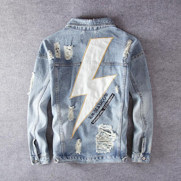 HhhknLightning Embroidery Ripped Demin Jacket Coat