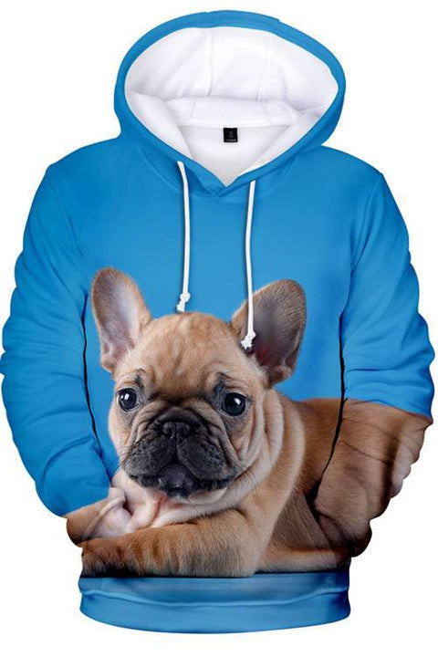 3D Graphic Hoodies  Animals Dogs French Bulldog Lazy