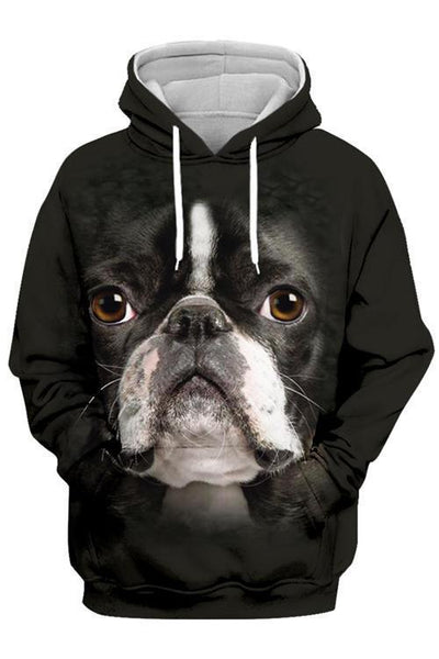 3D Graphic Hoodies  Animals Dogs Boston Terrier