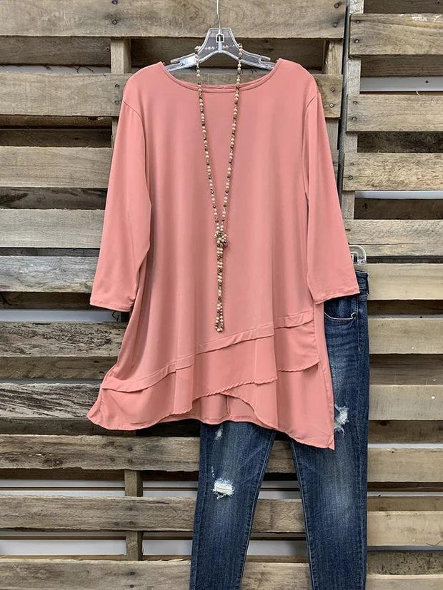 Plain Chiffon Work 3/4 Sleeve Shirt & Top