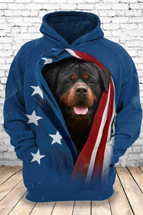 3D Graphic Hoodies Animals Dogs Rottweiler Starry Sky