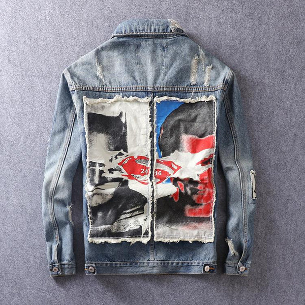 HhhknWashed Nostalgia Hole Jeans Jacket Coat