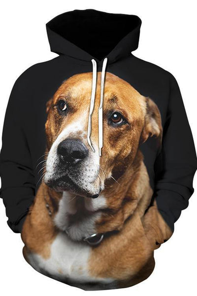 3D Graphic Hoodies Animals Dogs Staffordshire Bull Terrier Careful Listening