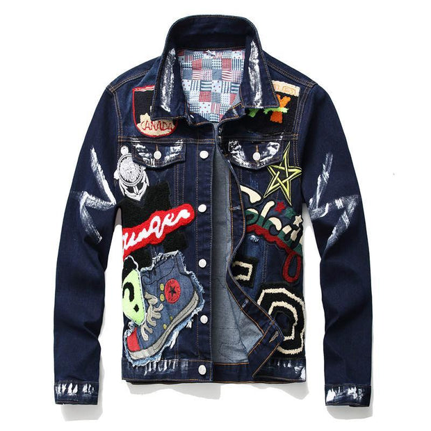 HhhknBeauty Badge Paint Denim Jacket Coat