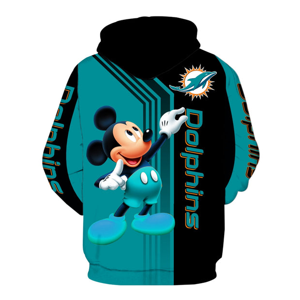 Miami Dolphins Mickey Hoodie 3D Sweatshirt Pullover - Douin