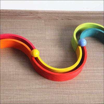 Set of Wooden Balls in a Rainbow of Colors 6PCS