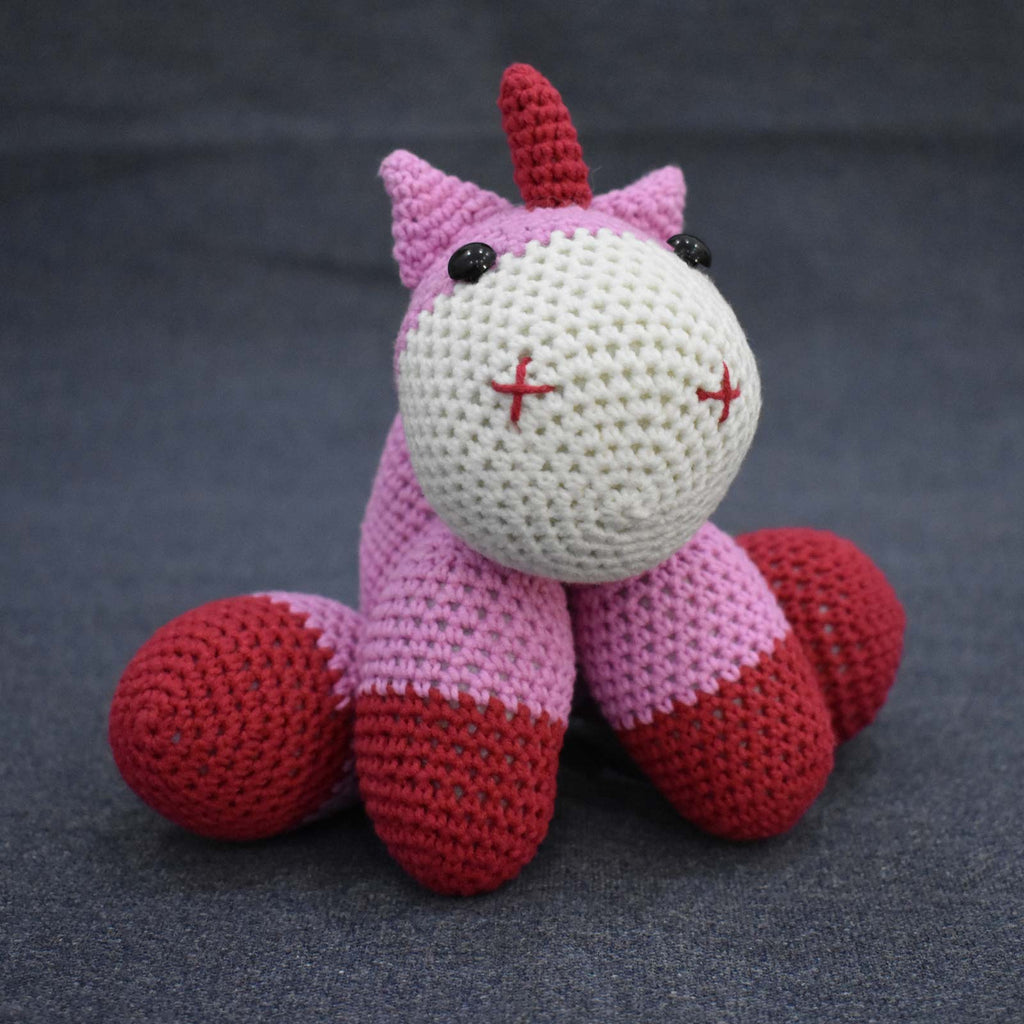 Pink Unicorn Crochet Animal Handmade Amigurumi Stuffed Toy Doll High Quality - SaiGonDoll
