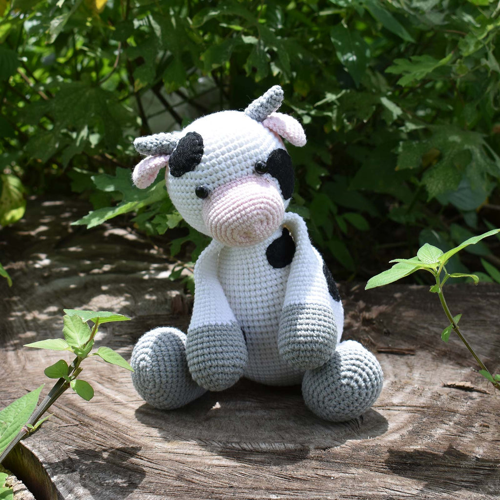 Milk Cow Crochet Plushie Stuffed Toy - Crochet Animal - Happy Farm - SaiGonDoll
