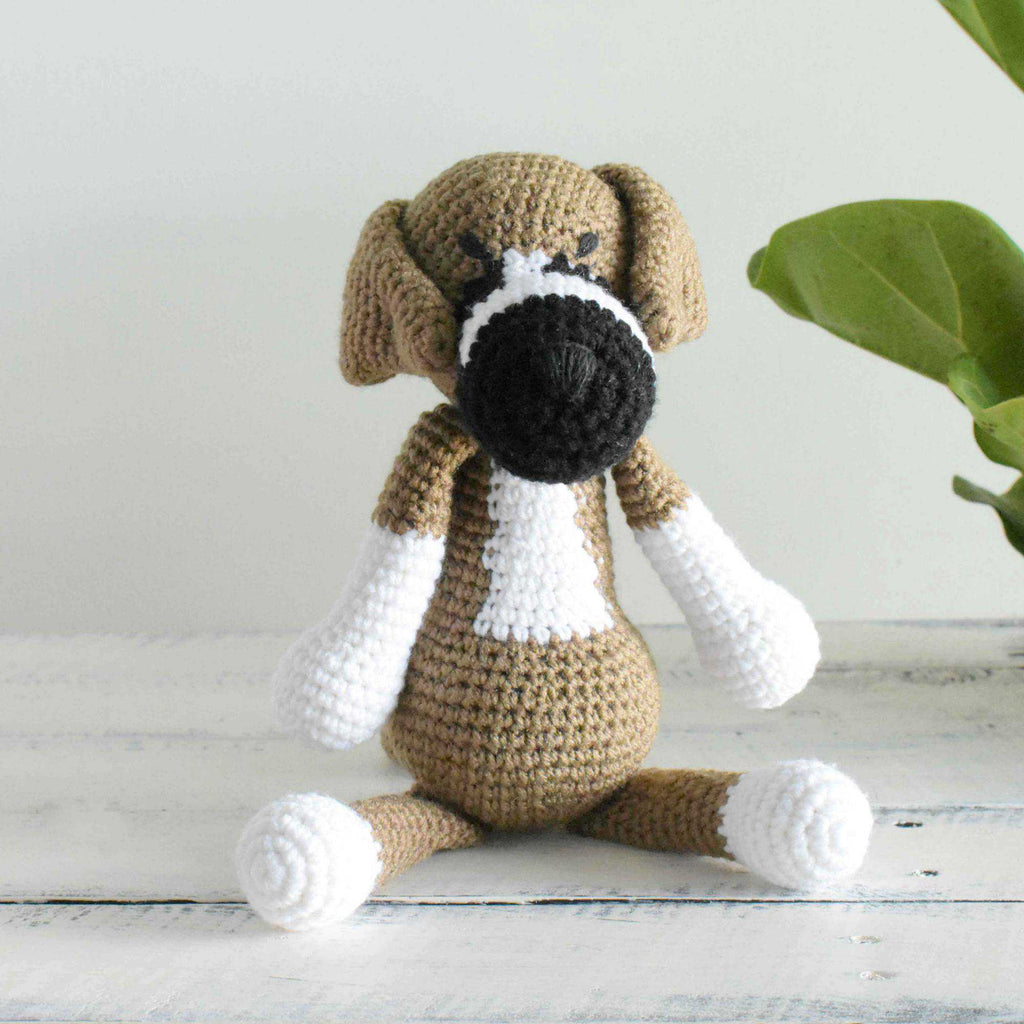 Crochet Boxer Dog Amigurumi Stuffed Dog Animal Crochet Plush Finished Toy - SaiGonDoll