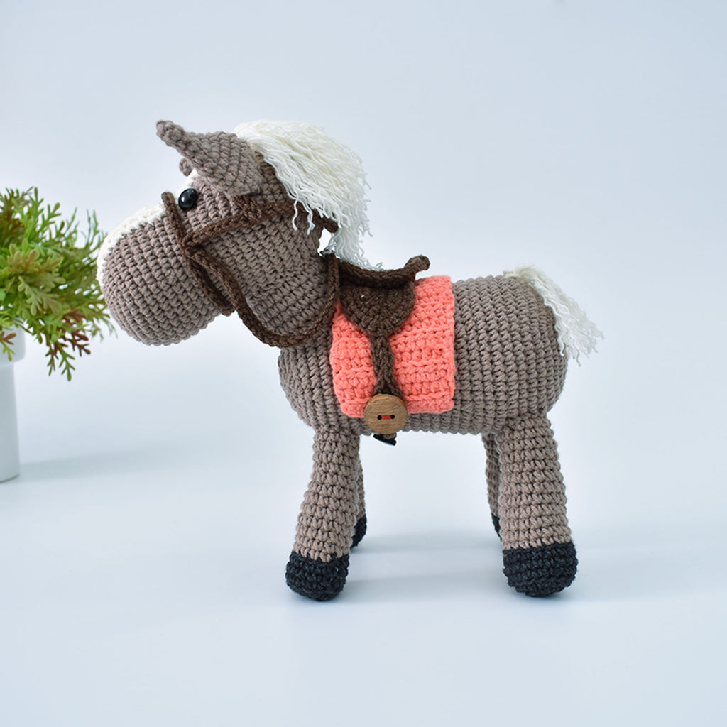 Horse & Saddle Crochet Animal Handmade Amigurumi Stuffed Toy Doll High Quality - SaiGonDoll