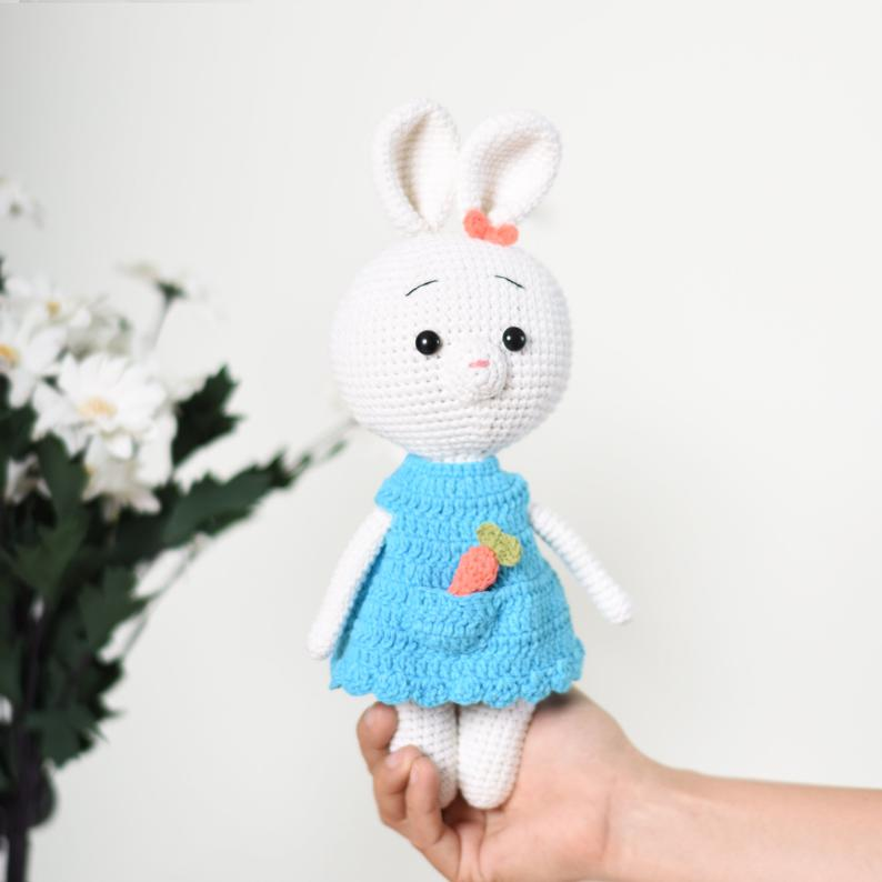Bunny With Carrot Crochet Handmade Stuffed Bunny - Best Gift For Girl - SaiGonDoll
