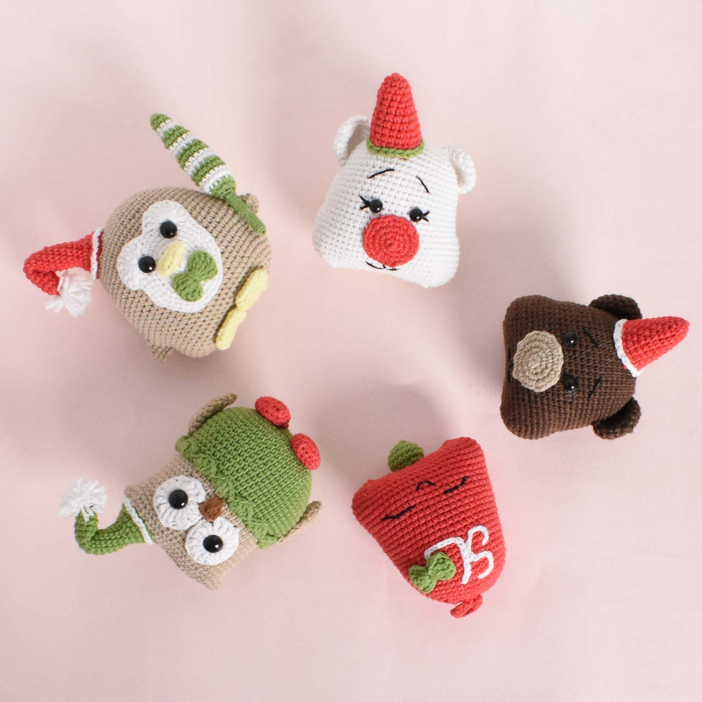 Set of 5 Chrismas Decorative Crochet - Owl - Bear - Christmas Tree - Gift To Friends - SaiGonDoll